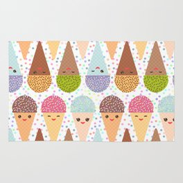 Kawaii mint raspberry chocolate Ice cream waffle cone with pink cheeks and winking eyes Rug