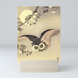 Koson Ohara - Scops Owl in Flight, Cherry Blossoms and Full Moon - Japanese Vintage Woodblock Mini Art Print