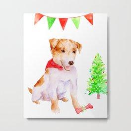 Watercolor Pet Portrait Dog Terrier Christmas Metal Print