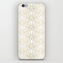 Gold and white geometric Art Deco pattern iPhone Skin