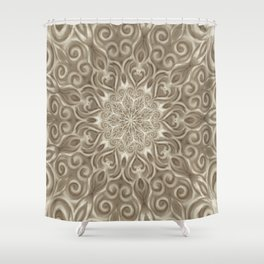 Beige swirl mandala Shower Curtain