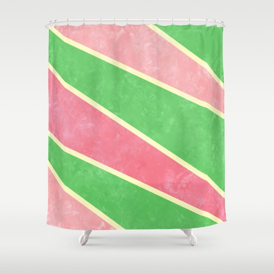 pink and green diagonal stripes shower curtain by kat mun