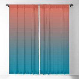 Pantone Living Coral & Barrier Reef Blue Gradient Ombre Blend Horizontal Line Blackout Curtain