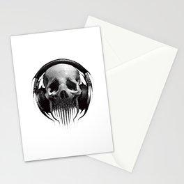 Alien Skull Listening to Music on Pro Beats Stationery Cards