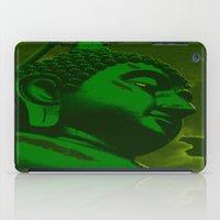 buddah iPad Cases featuring Buddah Head 02; Green  by Kether Carolus