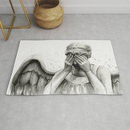 Weeping Angel Watercolor Painting Rug