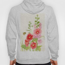 Watercolor Flower Pink Hollyhock and Bee Hoody
