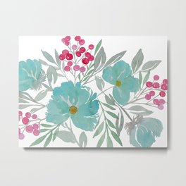 Blue Beach Flowers Metal Print