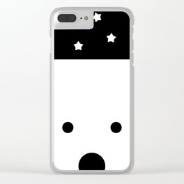 Peek-a-Boo Bear, Starry Night — Black and White Clear iPhone Case