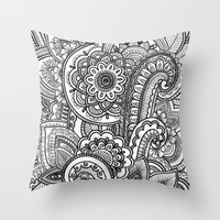 paisley Throw Pillows featuring Paisley by Emma Lin
