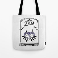 majoras mask Tote Bags featuring Zelda legend - Majora's mask by Art & Be