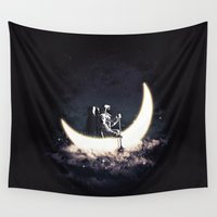 sailing Wall Tapestries featuring Moon Sailing by dan elijah g. fajardo