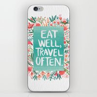 eat iPhone & iPod Skins featuring Eat Well, Travel Often Bouquet  by Cat Coquillette