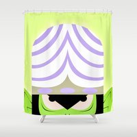 jojo Shower Curtains featuring Mojo Jojo Propaganda  by ArielPerrenot