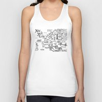 new york map Tank Tops featuring New York City Map by Claire Lordon
