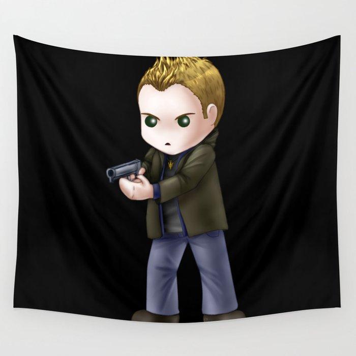 Chibi Dean Winchester (Black BG) Wall Tapestry
