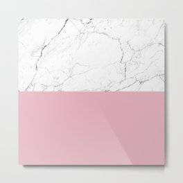 blush pink and white marble color block Metal Print