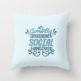 Introvert Social Hangover in Blue Throw Pillow