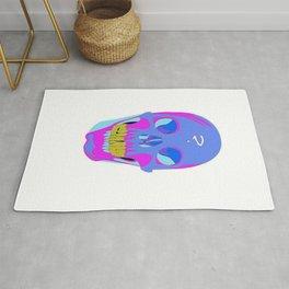 Neon Pixel Psychaedelic Halloween Skull  Rug