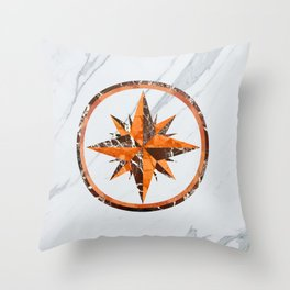 Wind rose ~ Inlaid marble Throw Pillow