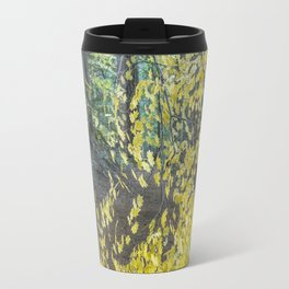 A Splay of Fall Leaves on a Forest Trail Travel Mug