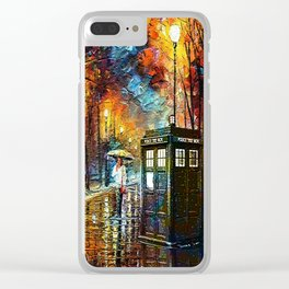 Tardis And Umbrella girl Clear iPhone Case