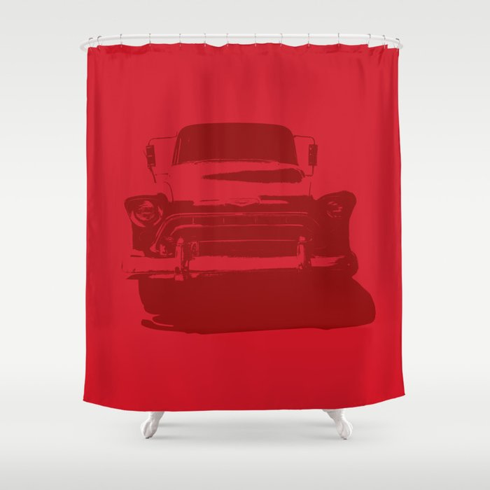 CHEVY PICKUP IN MONOCHROMATIC RED Shower Curtain