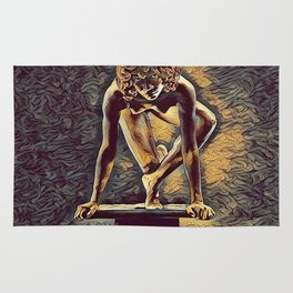 0948s-ZAC Dancer on Pedestal Poised Young Black Woman Antonio Bravo Style Rug