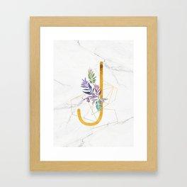 Modern glamorous personalized gold initial letter J, Custom initial name monogram gold alphabet prin Framed Art Print