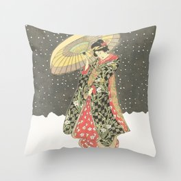 In the snow with an umbrella Throw Pillow