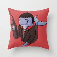 scarface Throw Pillows featuring Scarface Whale by CoolBreezDesigns