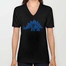 Stegosaurus Lace - Blue Unisex V-Neck