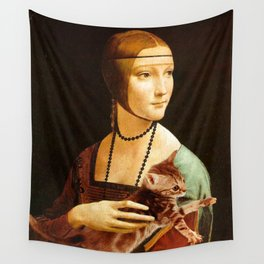 Lady with a Kitten Wall Tapestry
