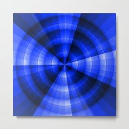 Monochromatic blue radial design Metal Print