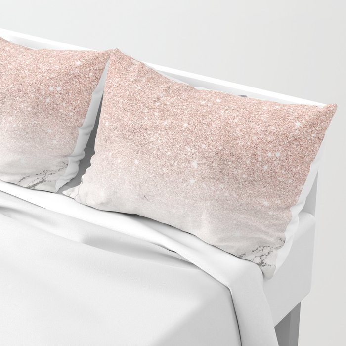 Modern faux rose gold pink glitter ombre white marble Pillow Sham