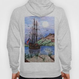 Tall Ship in the Moonlight Hoody
