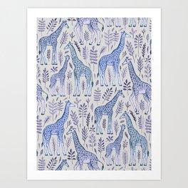 Blue Giraffe Pattern Kunstdrucke