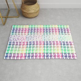 Cryptic multicolor textual pattern Rug