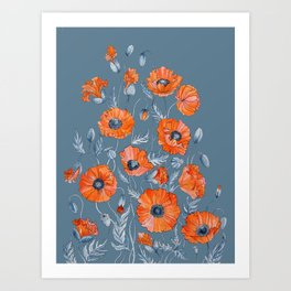 Red poppies in grey Art Print