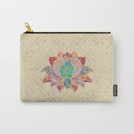 Watercolor & Gold paisley decorated lotus Carry-All Pouch