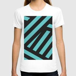 Black blue abstract stripes T-shirt