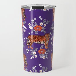 Tiger Clemson purple and orange florals university fan variety college football Travel Mug