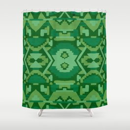 Geometric Aztec in Forest Green Shower Curtain