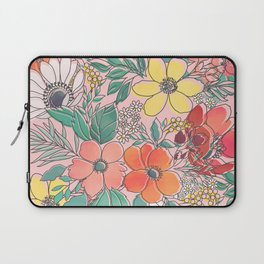 Cute girly pink floral hand drawn design Laptop Sleeve