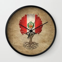 Vintage Tree of Life with Flag of Peru Wall Clock