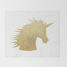 Gold Glitter Unicorn Throw Blanket