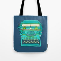 number Tote Bags featuring Typewriter Number Five by bluebutton studio