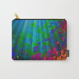 UNDER THE SEA Bold Colorful Abstract Acrylic Painting Mermaid Ocean Waves Splash Water Rainbow Ombre Carry-All Pouch