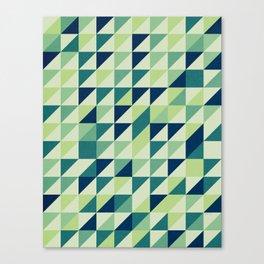 Blue And Green Geometric Grid Canvas Print