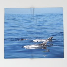 Beautiful risso´s dolphins in Tenerife Throw Blanket